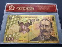 Bancnotă UNC de 100 de lei placată cu aur de 24 de karate