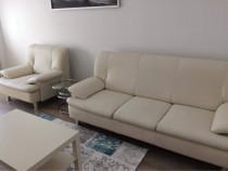 Canapea si fotoliu din piele naturala