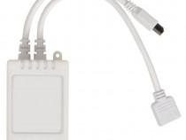 Pat cu LED-uri 140 x 200 cm, piele artificială, alb 242045