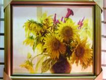 Tablou pictat manual pe panza in ulei vaza cu Flori A-178
