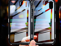 Iphone XR XS MAX - husa magnetica spate din sticla si rama m