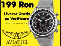 Ceas Aviator dual time bratara curea inox metal zale milano