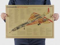 Poster vintage avion Concorde Bac Sud Aviation hartie kraft
