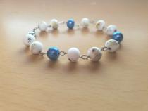 Bratara din Inox cu Perle Albe si Albastre