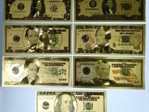 Lot 7 bancnote dolari sua placate cu aur 24k gold colectie