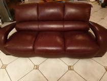 Canapea si fotoliu din piele naturala rosu visiniu