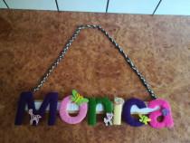 Nume personalizat colorat Monica camera copil fetita - Nou