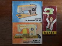Lot 3 carti instructiuni masini de cusut Ileana si Veronica