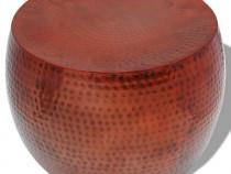 Masă de cafea rotundă din aluminiu cu finisaj de cupru, maro