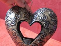 Inima vintage-decoratiune suport lumanare-cadou inedit