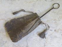 Antique perie curat arma/pistol cu punguta din piele