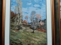 Goblen lucrat manual Peisaj la Posada N. Grigorescu