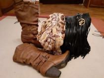 Set: cizme stare foarte buna,geanta si esarfa