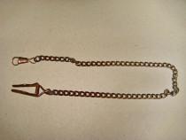 B113-Lant ceas buzunar barbat vechi metal bronzuit. Lungime
