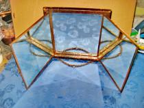 B119-I-Oglinda triptic veche Franta Patent 1876 rama dronze.