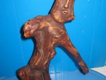 6136-I-MAMOS Statuieta abstracta lemn semnata.
