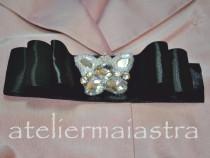 Brosa fundita negru argintiu, brosa fluture, accesorii femei