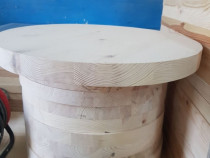 Blat masa 30 mm grosime, 550 mm diametru din lemn masiv de p