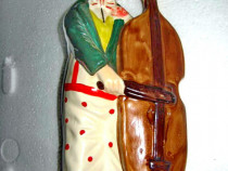 460- Statuieta Clown cu violoncel portelan-ceramica.
