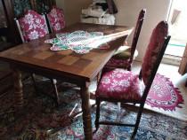 Masa ''stil'', lemn masiv,cu scaune tapitate