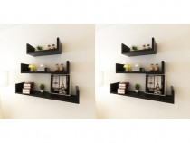 Rafturi de perete, 6 buc., negru 275989