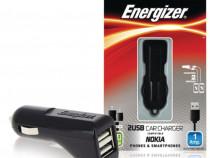 Incarcator Auto 2xUSB 1A Energizer + Cablu Date MicroUSB