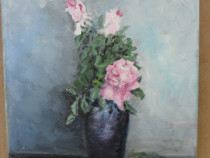 Trandafiri in vaza 1-pictura ulei pe panza