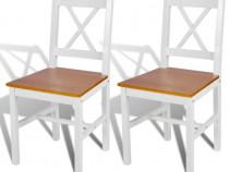 Scaune de bucătărie, 2 buc., alb, lemn de pin 241512
