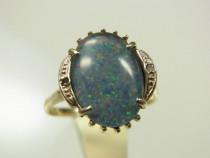 Inel Aur Alb 14k Piatra Opal Diamante Mici An 1970 Reducere