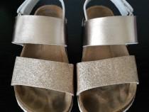 Sandale aurii cu sclipici si bareta 32 (20 cm)