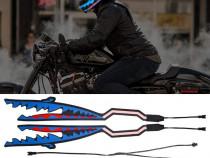 Lumini casca motocicleta, rechin, LED, noapte, albastru, viz