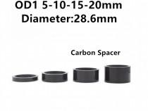 Set 4 distantiere carbon 5,10,15,20 mm bicicleta pipa ghidon