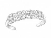 Inel De Picior Argint, Flori, Reglabil, White, A4S26207