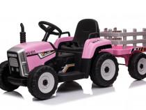Tractoras electric BJ-611 cu remorca si telecomanda #Roz