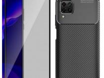 Huawei P40 P40 LITE /E P40 PRO - Husa Silicon Carbon + Folie