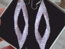 Cercei lungi roz, cercei mireasa, bijuterii femei, cadou