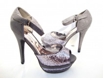Pantofi gri pentru dama, 39, tocuri de 14 cm