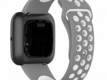 Curea silicon schimb bratara ceas Fitbit Versa 1, 2, alb cu