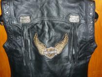 Vestă piele Harley-Davidson, copii, mar. M(146-150)