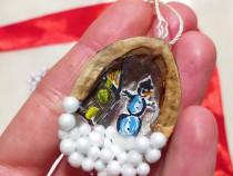 Globuri in miniatura coaja de nuca handmade