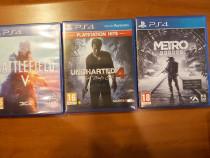 Jocuri PS4 - Uncharted 4 + Metro Exodus + Battlefield 5