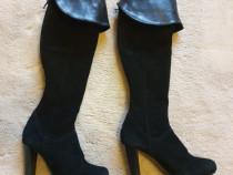 Cizme negre lungi, cu toc, piele naturala, marimea 37