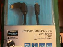 Cablu HDMI/miniHDMI 360 grade