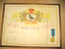 B970-Diploma Asociatia Columbofila Regala Belgia medalie...