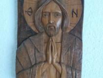 Icoană- sculptură în lemn