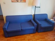 Set: canapea de 2 locuri extensibilă + fotoliu