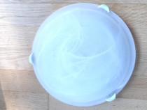 Plafoniera rotunda, 1 bec, sticlă Murano, alb mat, 38x8 cm