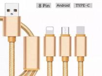 Cablu de Incarcare 3 Mufe (Huawei/iPhone/Samsung/Xiaomi)