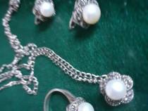 Set argint si perle originale cu marcasite