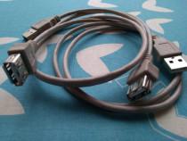 2 cabluri prelungitoare USB 2.0 male USB 2.0 female, 5 lei c
